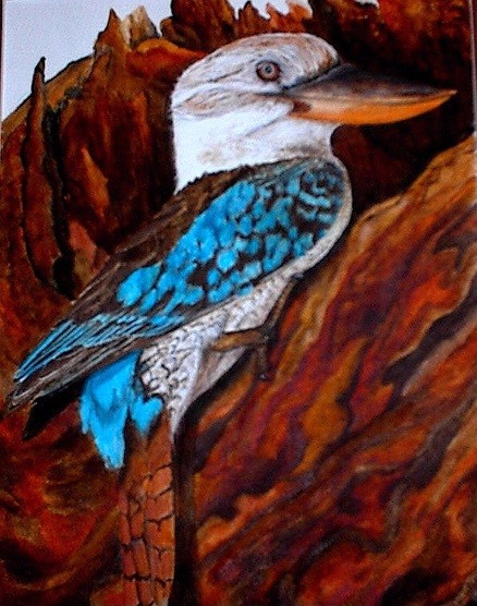 Blue-winged kookaburra on a rotted tree trunk